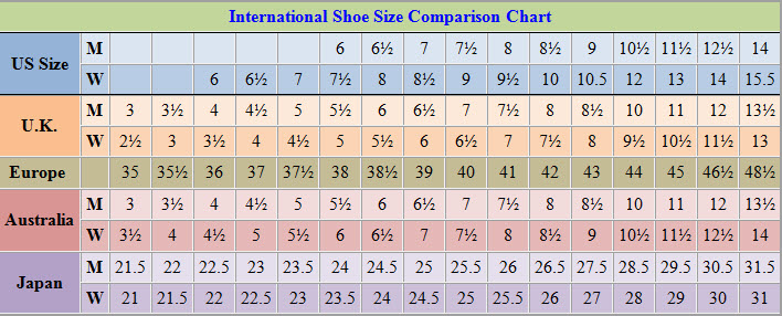 Shoes Sizes Table